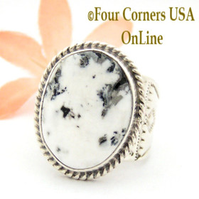 Size 10 1/4 White Buffalo Turquoise Ring Navajo Freddy Charley and Tony Garcia American Indian Silver Jewelry NAR-1615 Four Corners USA OnLine