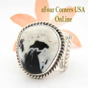 Size 10 1/4 White Buffalo Turquoise Ring Navajo Freddy Charley and Tony Garcia Four Corners USA OnLine American Indian Silver Jewelry NAR-1616