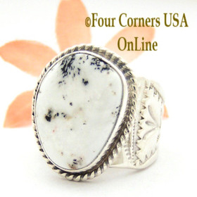 Size 10 1/2 White Buffalo Turquoise Ring Navajo Tony Garcia and Freddy Charley American Indian Silver Jewelry NAR-1619 Four Corners USA OnLine