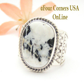 Size 11 White Buffalo Turquoise Ring Navajo Freddy Charley and Tony Garcia Four Corners USA OnLine Native American Indian Silver Jewelry NAR-1620