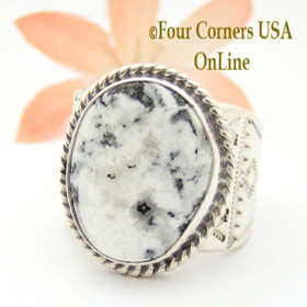 Size 10 3/4 White Buffalo Turquoise Ring NAR-1621 Navajo Freddy Charley and Tony Garcia Four Corners USA OnLine Native American Indian Silver Jewelry
