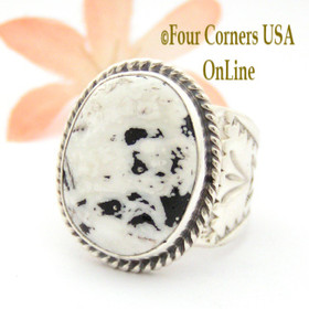Size 9 1/4 White Buffalo Turquoise Ring NAR-1622 Navajo Freddy Charley and Tony Garcia Four Corners USA OnLine Native American Indian Silver Jewelry