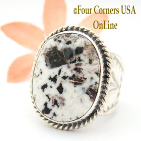 Size 9 1/4 White Buffalo Turquoise Ring NAR-1624 Navajo Freddy Charley and Tony Garcia Four Corners USA OnLine Native American Indian Silver Jewelry