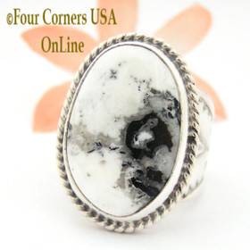 Size 8 3/4 White Buffalo Turquoise Ring NAR-1625 Navajo Freddy Charley and Tony Garcia Four Corners USA OnLine Native American Indian Silver Jewelry