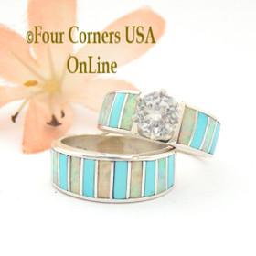 Size 4 1/2 Turquoise Opal Inlay Navajo Wedding Engagement Ring Set Ella Cowboy WS-1563 Four Corners USA OnLine