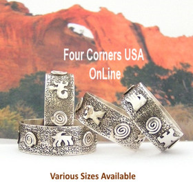 Sizes 7 to 13 Petroglyph Sterling Silver Band Ring Navajo Scott Skeets NAR-1626