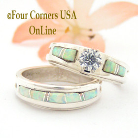 Size 7 1/2 White Opal Bridal Engagement Wedding Ring Set Native American Silver Jewelry WS-1565 Four Corners USA OnLine