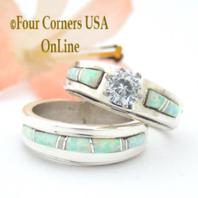 Size 5 White Opal Bridal Engagement Wedding Ring Set Native American Silver Jewelry WS-1564 Four Corners USA OnLine