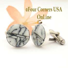 White Buffalo Inlay Cuff Links Navajo Artisan Arnold Yazzie NAM-1421 Four Corners USA OnLine