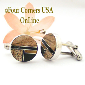 Jasper Tiger Eye Jet Inlay Cuff Links Navajo Artisan Arnold Yazzie NAM-1422 Four Corners USA OnLine