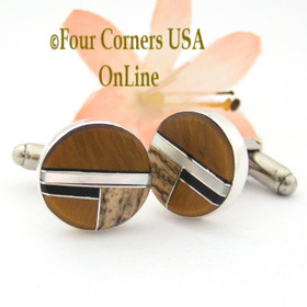 Jasper Tiger Eye Jet Mother of Peael Inlay Cuff Links Navajo Artisan Arnold Yazzie NAM-1423 Four Corners USA OnLine