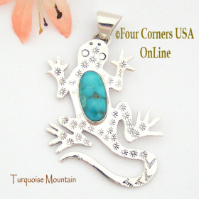 Turquoise Mountain Turquoise Sterling Lizard Pendant Navajo Artisan Tony Garcia NAP-1525 Four Corners USA OnLine Native American Silver Jewelry