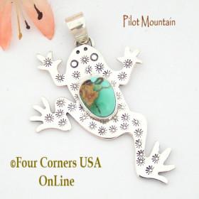 Pilot Mountain Turquoise Sterling Frog Pendant Navajo Artisan Tony Garcia NAP-1519 Four Corners USA OnLine Native American Silver Jewelry