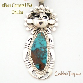 Candelaria Turquoise Sun Kachina Pendant Navajo Artisan Freddy Charley NAP-1532 Four Corners USA OnLine Native American Jewelry Store