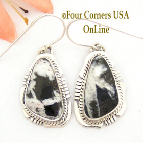 White Buffalo Turquoise Sterling Silver Earrings Navajo Artisan Kathy Yazzie NAER-1481 Four Corners USA OnLine Native American Jewelry