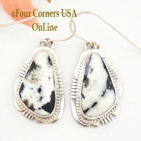 White Buffalo Turquoise Sterling Silver Earrings Navajo Artisan Kathy Yazzie NAER-1483 Four Corners USA OnLine Native American Jewelry