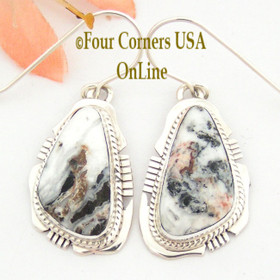 White Buffalo Turquoise Sterling Silver Earrings Navajo Artisan Kathy Yazzie NAER-1484 Four Corners USA OnLine Native American Jewelry