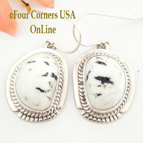 White Buffalo Turquoise Sterling Silver Earrings Navajo Artisan Larson Lee NAER-1485 Four Corners USA OnLine Native American Jewelry