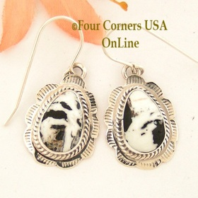 White Buffalo Turquoise Stamped Teardrop Earrings Navajo Silversmith Burt Francisco NAER-1487 Four Corners USA Online Native American Jewelry