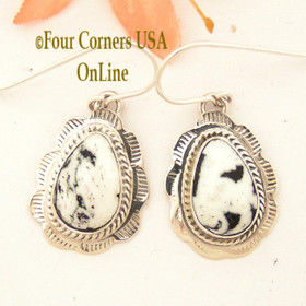 White Buffalo Turquoise Stamped Teardrop Earrings Navajo Silversmith Burt Francisco NAER-1490 Four Corners USA Online Native American Jewelry