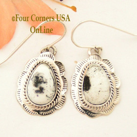 White Buffalo Turquoise Stamped Teardrop Earrings Navajo Silversmith Burt Francisco NAER-1491 Four Corners USA Online Native American Jewelry