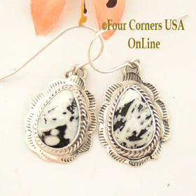White Buffalo Turquoise Stamped Teardrop Earrings Navajo Silversmith Burt Francisco NAER-1492 Four Corners USA Online Native American Jewelry