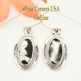 White Buffalo Oval Turquoise Sterling Earrings Navajo Artisan Burt Francisco NAER-1494 Four Corners USA OnLine Native American Jewelry