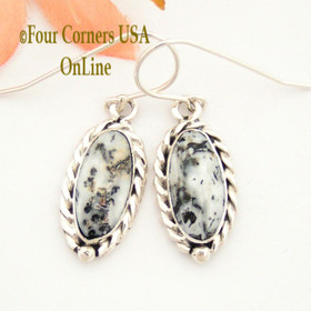 White Buffalo Turquoise Sterling Earrings Navajo Artisan Barbara Hemstreet NAER-1502 Four Corners USA OnLine Native American Jewelry