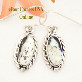 White Buffalo Turquoise Sterling Earrings Navajo Artisan Barbara Hemstreet NAER-1503 Four Corners USA OnLine Native American Jewelry