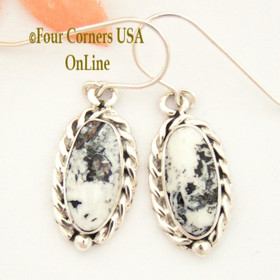 White Buffalo Turquoise Sterling Earrings Navajo Artisan Barbara Hemstreet NAER-1504 Four Corners USA OnLine Native American Jewelry