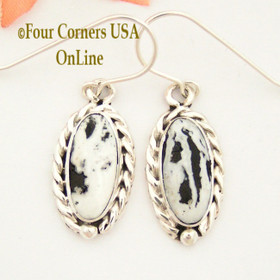 White Buffalo Turquoise Sterling Earrings Navajo Artisan Barbara Hemstreet NAER-1505 Four Corners USA OnLine Native American Jewelry