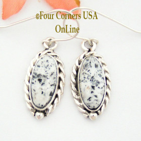 White Buffalo Turquoise Sterling Earrings Navajo Artisan Barbara Hemstreet NAER-1507 Four Corners USA OnLine Native American Jewelry