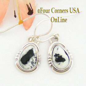 White Buffalo Turquoise Sterling Earrings Navajo Artisan Argke Nelson NAER-1510 Four Corners USA Online Native American Jewelry