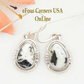 White Buffalo Turquoise Sterling Earrings Navajo Artisan Argke Nelson NAER-1512 Four Corners USA Online Native American Jewelry