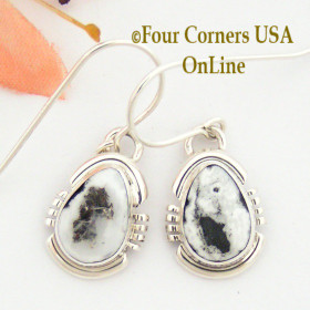 White Buffalo Turquoise Sterling Earrings Navajo Artisan Argke Nelson NAER-1513 Four Corners USA Online Native American Jewelry