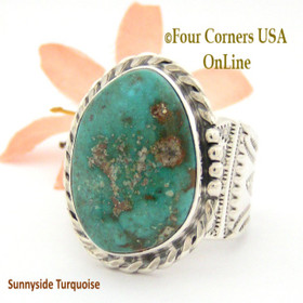 Size 13 1/2 Sunnyside Turquoise Sterling Ring Navajo Artisan Freddy Charley NAR-1637 Four Corners USA OnLine Native American Jewelry