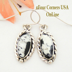 White Buffalo Turquoise Sterling Earrings Navajo Artisan Barbara Hemstreet NAER-1515 Four Corners USA OnLine Native American Jewelry
