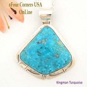 Kingman Turquoise Sterling Silver Necklace Navajo Artisan Phillip Sanchez NAP-1535 Four Corners USA OnLine Native American Jewelry