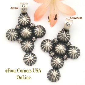 Sterling Cross Pendant Navajo Artisan Darrell Cadman NACR-1419 Four Corners USA OnLine Native American Jewelry