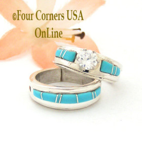 Size 5 Turquoise Engagement Bridal Wedding Ring Set Native American Wilbert Muskett Jr WS-1566 Four Corners USA OnLine Jewelry