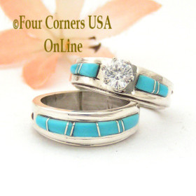 Size 5 Turquoise Engagement Bridal Wedding Ring Set Native American Wilbert Muskett Jr WS-1567 Four Corners USA OnLine Jewelry