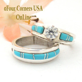 Size 5 1/2 Turquoise Engagement Bridal Wedding Ring Set Native American Wilbert Muskett Jr WS-1569  Four Corners USA OnLine Jewelry