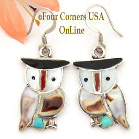 Zuni Inlay Owl Earrings Native American Pitkin Natewa with Shell Turquoise Coral NAER-09196C Four Corners USA OnLine