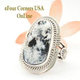 Size 7 White Buffalo Turquoise Sterling Ring Navajo Artisan John Nelson NAR-1763 Four Corners USA OnLine