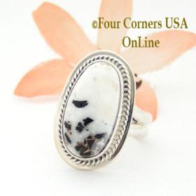 Size 5 3/4 White Buffalo Turquoise Sterling Ring Navajo Artisan Lester Jackson NAR-1764 Four Corners USA OnLine