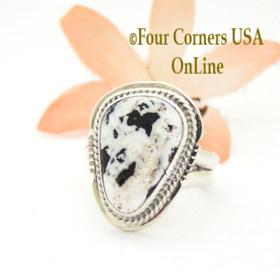 Size 7 White Buffalo Turquoise Sterling Ring Navajo Artisan Lester Jackson NAR-1765 Four Corners USA OnLine