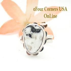 Size 5 1/4 White Buffalo Turquoise Sterling Ring Navajo Artisan Barbara Hemstreet NAR-1766 Four Corners USA OnLine