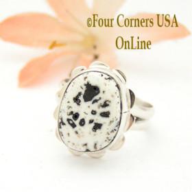 Size 6 White Buffalo Turquoise Sterling Ring Navajo Artisan Barbara Hemstreet NAR-1768 Four Corners USA OnLine