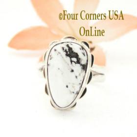 Size 7 White Buffalo Turquoise Sterling Ring Navajo Artisan Barbara Hemstreet NAR-1770 Four Corners USA OnLine