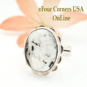Size 7 3/4 White Buffalo Turquoise Sterling Ring Navajo Artisan Barbara Hemstreet NAR-1771 Four Corners USA OnLine
